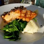 Salmon, garlic mashed and spinach. Very, very good.