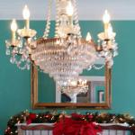 Dining Room chandelier and Christmas finery