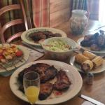 Lovely food done on the bbq which is on the decking near the hot tub!