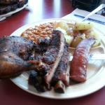 Combo plate with ribs, chicken and sausage