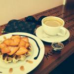 Waffle and white mocha coffee