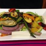 Grilled veggie platter- delish. The cheese is to die for with the veggies