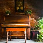 Piano in front window