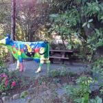 Picnic table and sculpture
