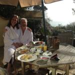 The gorgeously private breakfast terrace of our Garden Room