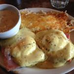 Eggs Benedict, with Hashbrowns and a side of country gravy.