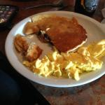 Sunday $1 menu, blueberry pancake 2 eggs