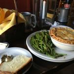 Our lunch at the Hawk's head. Pot pie, seasoned green beans and homemade bread.