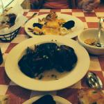 Mussels with wine sauce and Sea Bass with lobster sauce