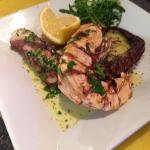 "New Edition!! char-grilled octopus with ""jumbo"" tiger prawns marrinated with olive oil, lemon an"