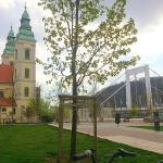 Budapest - Marcius 15 ter - on the left Belvárosi plébánia templom, on the right  Erzsébet híd