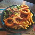 panko calamari rings with chips and salad