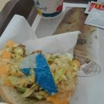 Disgustin blue paper inside my sandwich