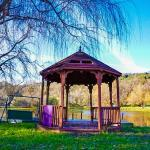 The lake area and gazebo