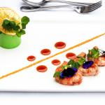 Seared Langoustine, Pea Mousse and Orange Crisp with Spicy Orange Reduction