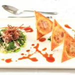 Confit Chicken and Orange Herb Ravioli, Braised Baby leeks with Honey Mustard Dressing