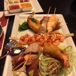 Starter plate for two: Prawn, tuna and salmon skewers