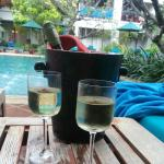 Wine at one of the 3 pools