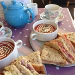 Soup and sandwich at the grosvenor tea room sidmouth