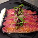 New beetroot cured salmon starter with horseradish creme fraiche.