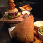 BBQ beef burger and beer battered hake and chips.