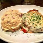 Chicken Parmesan w/ Garlic Mashed Potatoes.