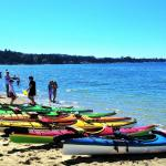 Blue water and sandy beaches at Porpoise Bay Provincial Park - a paddle mecca