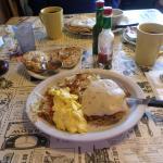 too much good stuff!!! Chicken fried steak and eggs!!!!