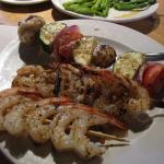 Grilled Shrimp Skewers with Rice and Side of Grilled Vegetables