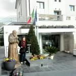 My wife in front of Hotel Vittoria