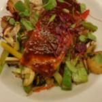 Sweet chilli salmon stir fry with sauted new potoes