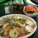 Steamed red snapper with water crackers and salad