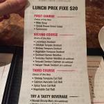 March 2015 set lunch menu