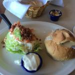 My New England clam chowder and ice berg wedge with blue cheese dressing