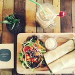 Ice coffee and chicken caesar wrap