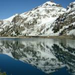 Il Rifugio E. Castiglioni poco sopra il livello del Lago Fedaia