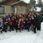 One of our groups in front of the cabin