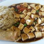 To-Fu with Hot Spicy Sauce served with Soup of the day, Eggroll and Fried rice