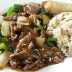 Beef with Green Pepper served with Soup of the day, Eggroll &  Fried rice.