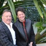 Innkeepers Larry and Lisa relax in the Fredrick Meijer Tropical Garden.