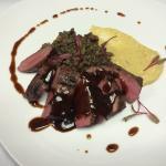Flat Iron Steak, Lentils, Cheddar Cauliflower Purée