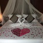 Our bed decorated for our honeymoon on our arrival