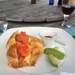 Breakfast second course: smoked salmon and egg croissant with avocado - absolutely delicious!