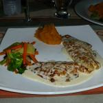 Red snapper with a lime garlic cream sauce