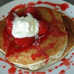 Hot cakes with strawberries!