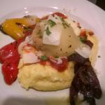 Chicken meatball with cheese, polenta and peppers