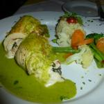 Stuffed chicken breast with poblano sauce