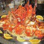 seafood platter over pasta