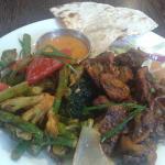 Gurkha 3, Lamb Sekuwa and Broccoli and asparagus, roti