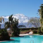 Large pool, snow on Mt. San Jacinto